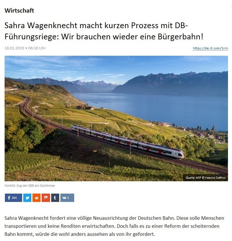 Wirtschaft - Sahra Wagenknecht macht kurzen Prozess mit DB-Führungsriege: Wir brauchen wieder eine Bürgerbahn!