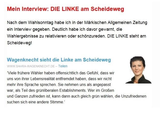 Aus dem Posteingang vom 08.09.2019 - Team Sahra - Wagenknecht sieht die Linke am Scheideweg - Interview mit Sahra Wagenknecht in der Märkischen Allgemeinen Zeitung, 03.09.2019