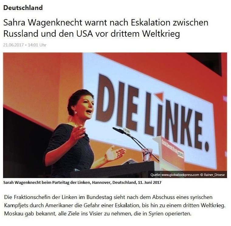 Sahra Wagenknecht warnt vor drittem Weltkrieg