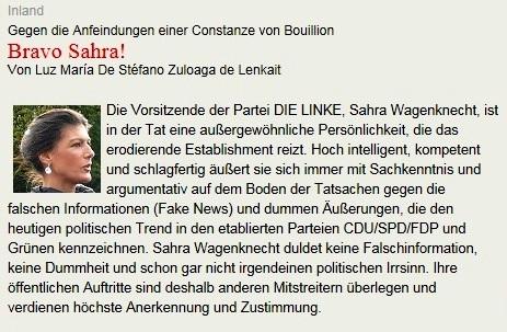 Bundestagsabgeordnete Dr. Sahra Wagenknecht wehrt sich gegen falsche Informationen (Fake News) - Gegen die Anfeindungen einer Constanze von Bouillion -  Bravo Sahra! - Von Luz María De Stéfano Zuloaga de Lenkait