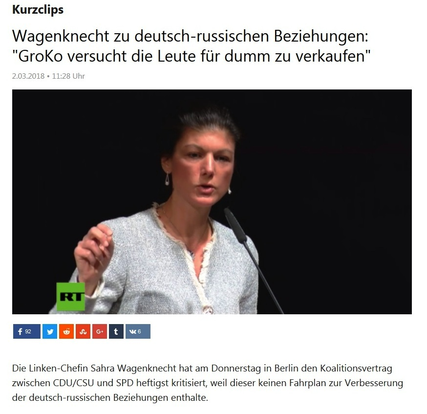 Sahra Wagenknecht zu deutsch-russischen Beziehungen: 'GroKo versucht die Leute für dumm zu verkaufen'