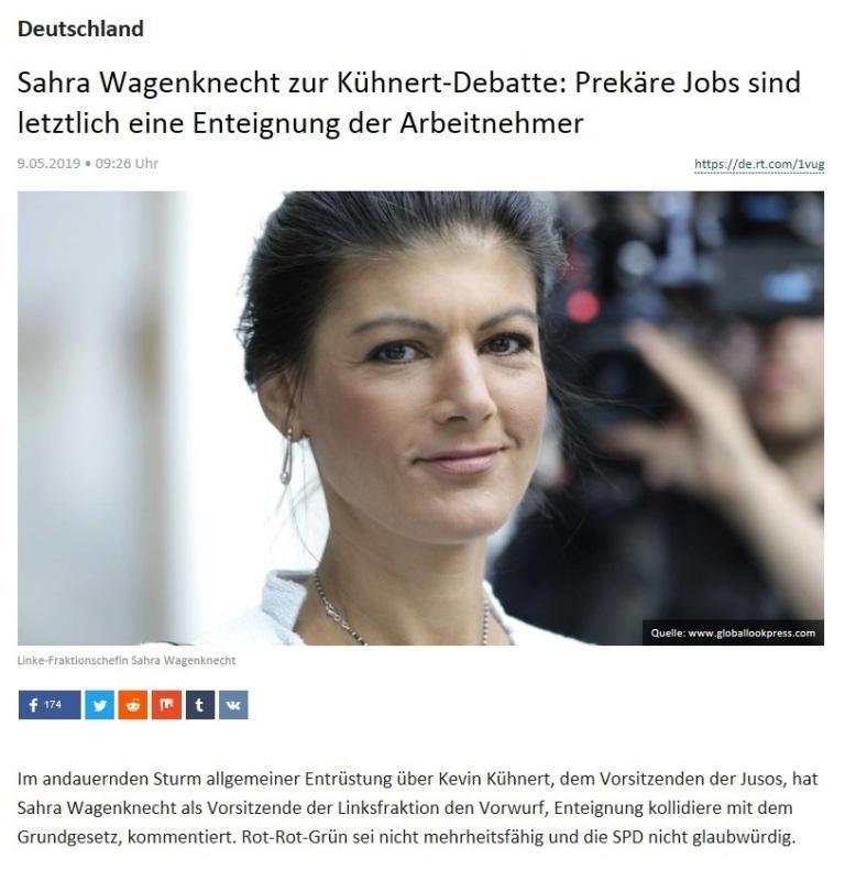 Deutschland - Sahra Wagenknecht zur Kühnert-Debatte: Prekäre Jobs sind letztlich eine Enteignung der Arbeitnehmer