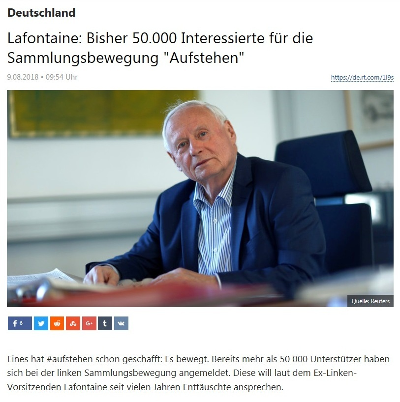 Deutschland - Oskar Lafontaine: Bisher 50.000 Interessierte für die Sammlungsbewegung 'Aufstehen'