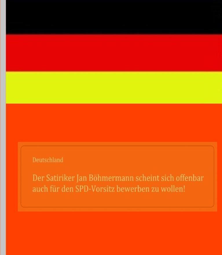 Deutschland -  Der Satiriker Jan Böhmermann scheint sich offenbar auch  für den SPD-Vorsitz bewerben zu wollen!