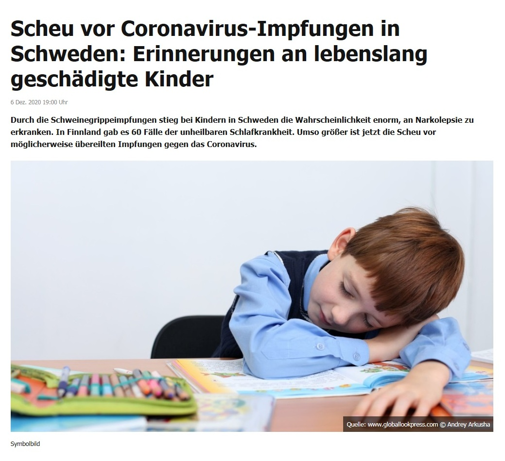 Europa - Scheu vor Coronavirus-Impfungen in Schweden: Erinnerungen an lebenslang geschädigte Kinder - RT DE - 6. Dez. 2020 19:00 Uhr