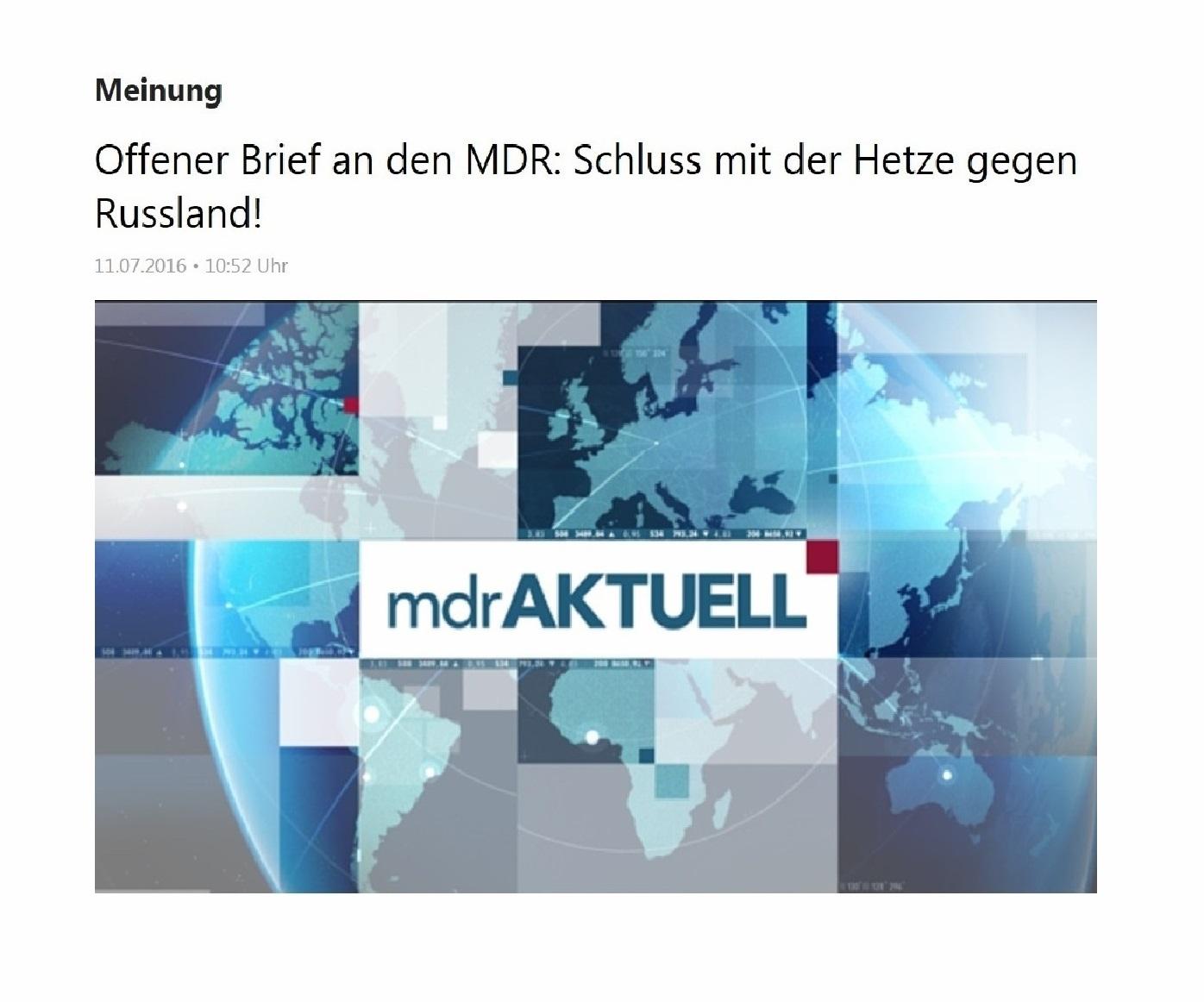 EUROPA-Friedensforum - Schluss mit der Hetze gegen Russland! Offener Brief an den MDR