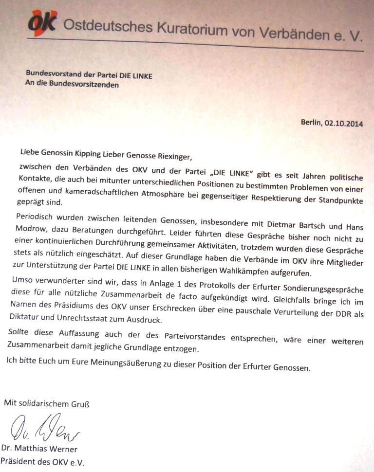 Schreiben des Präsidenten des Ostdeutschen Kuratoriums von Verbänden e. V. Dr. Matthias Werner vom 2.10.2014 an den Bundesvorstand der Partei DIE LINKE. Foto: Eckart Kreitlow