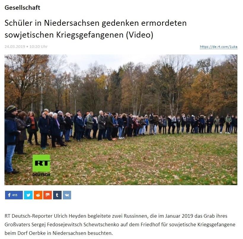Gesellschaft - Schüler in Niedersachsen gedenken ermordeten sowjetischen Kriegsgefangenen (Video)