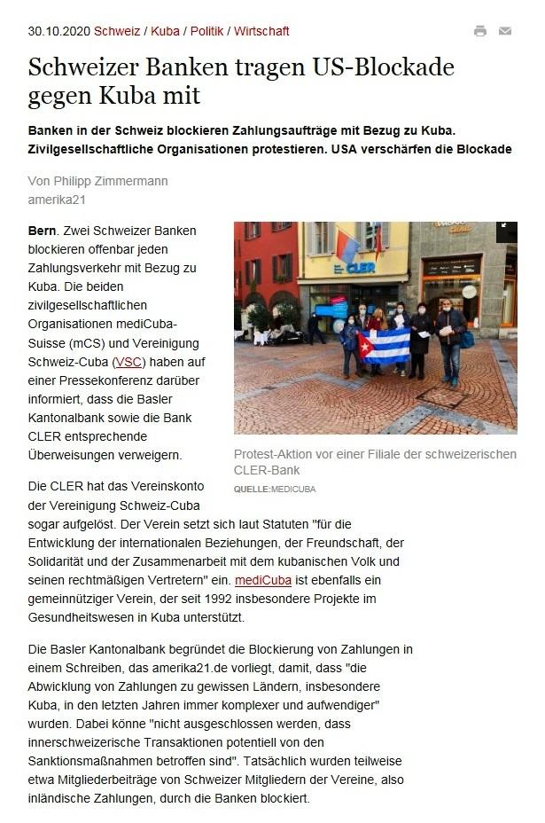 Schweizer Banken tragen US-Blockade gegen Kuba mit - Banken in der Schweiz blockieren Zahlungsaufträge mit Bezug zu Kuba. Zivilgesellschaftliche Organisationen protestieren. USA verschärfen die Blockade - amerika21 - Nachrichten und Analysen aus Lateinamerika - 30.10.2020