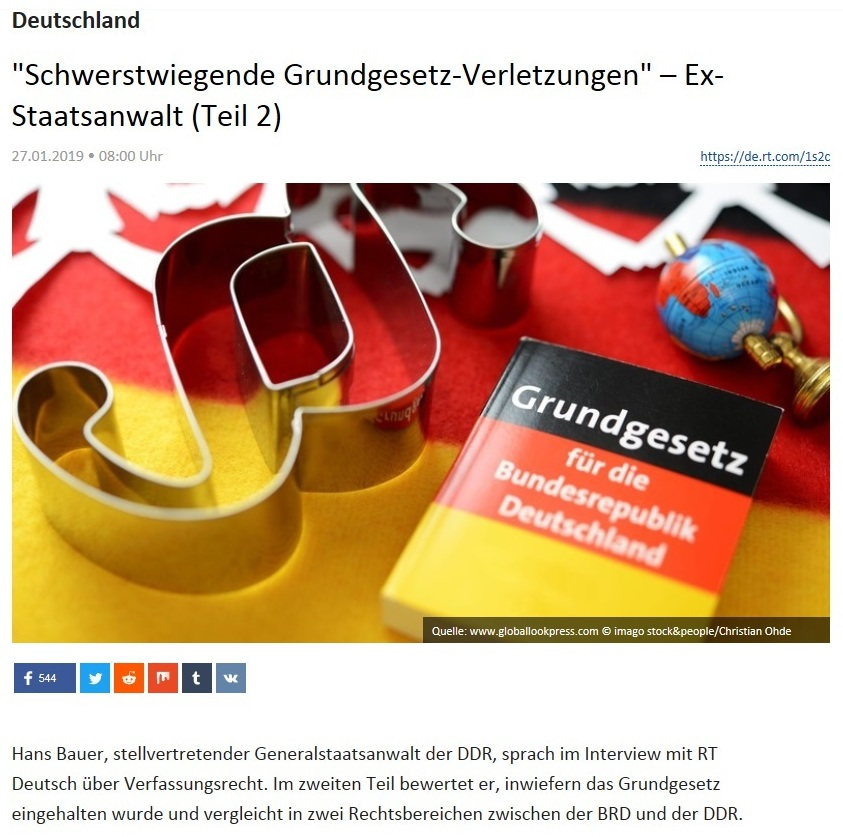 Deutschland - 'Schwerstwiegende Grundgesetz-Verletzungen' – Ex-Staatsanwalt (Teil 2)