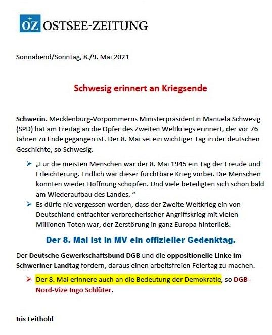 Schwesig erinnert an das Kriegsende - Ostsee-Zeitung 08.05.2021 - Aus dem Posteingang von Siegfried Dienel vom 17.05.2021