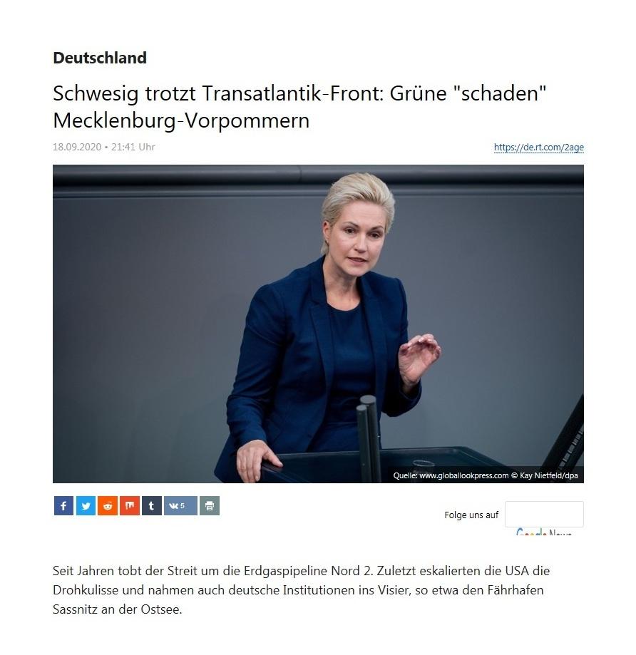 Deutschland - Schwesig trotzt Transatlantik-Front: Grüne 'schaden' Mecklenburg-Vorpommern - RT Deutsch - 19.09.2020