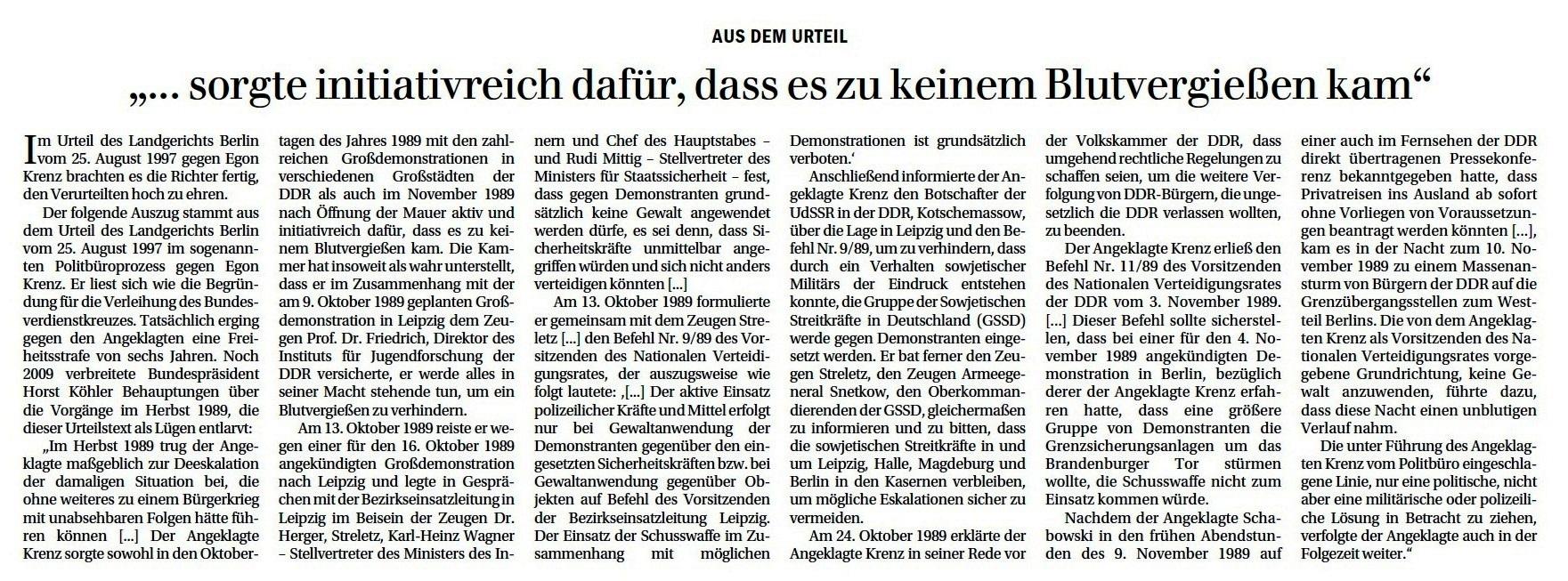 Aus dem Urteil: '...sorgte initiativreich dafür, dass es zu keinem Blutvergießen kam'  - Egon Krenz und Friedrich Wolff, zwei alte Genossen, reden über die unterschiedlichen Systeme in Ost und West und ihre Erfahrungen damit  - Berliner Zeitung vom 31.05.2021, Seite 8 - Aus dem Posteingang von Egon Krenz vom 31.05.2021
