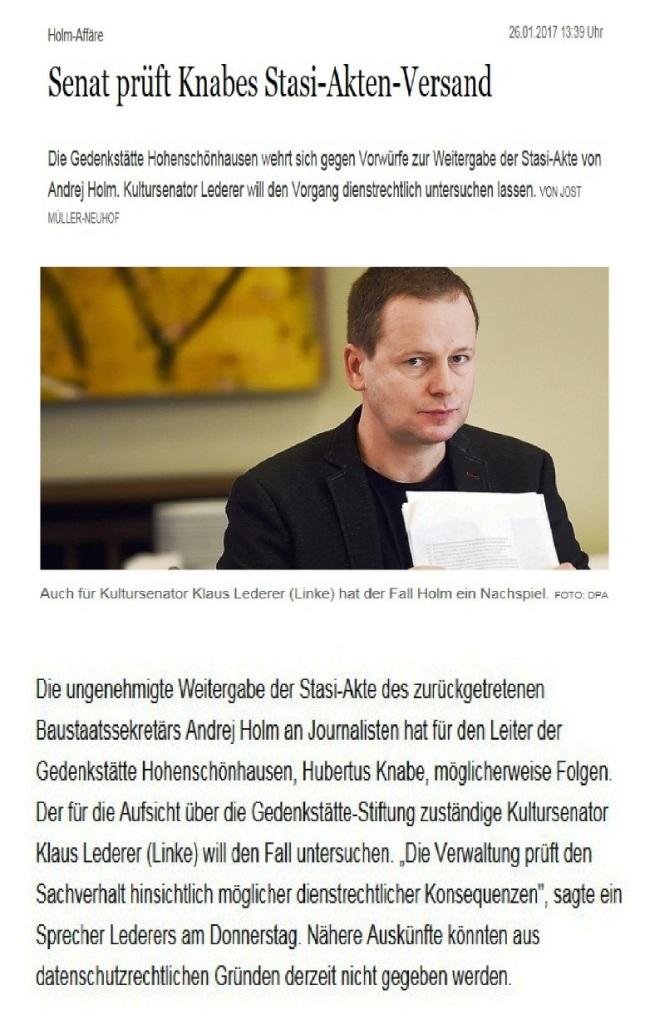 Senat prüft Knabes Stasi-Akten-Versand im Fall von Dr. Andrej Holm
