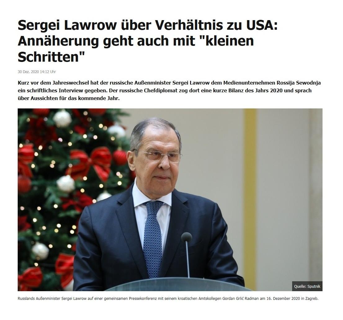 Sergei Lawrow über Verhältnis zu USA: Annäherung geht auch mit 'kleinen Schritten' - RT DE - 30 Dez. 2020 14:12 Uhr