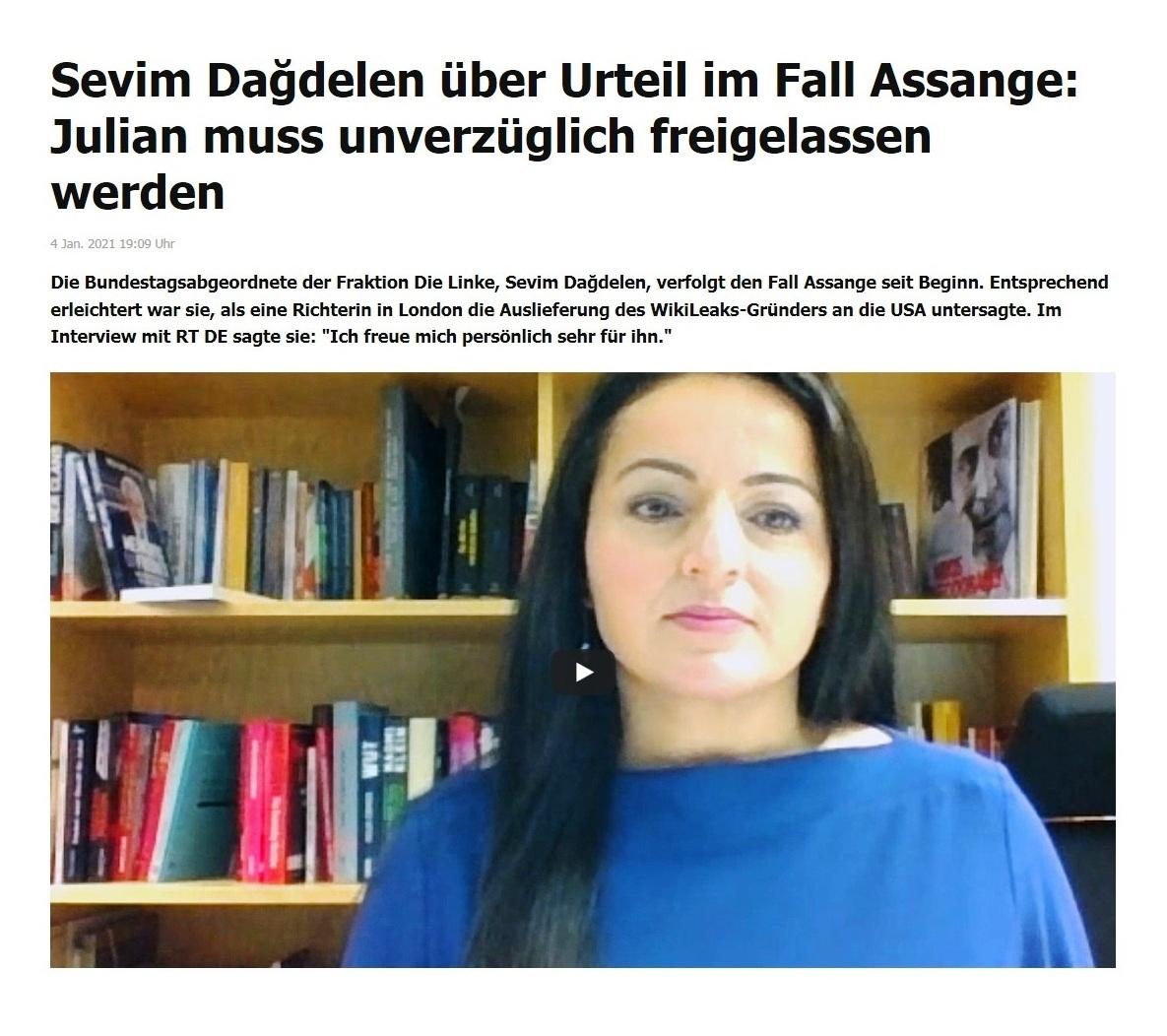 Sevim Dağdelen über Urteil im Fall Assange: Julian muss unverzüglich freigelassen werden - RT DE - 4 Jan. 2021 19:09 Uhr