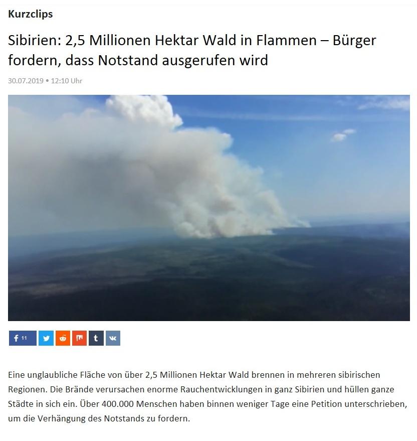 Kurzclips - Sibirien: 2,5 Millionen Hektar Wald in Flammen – Bürger fordern, dass Notstand ausgerufen wird