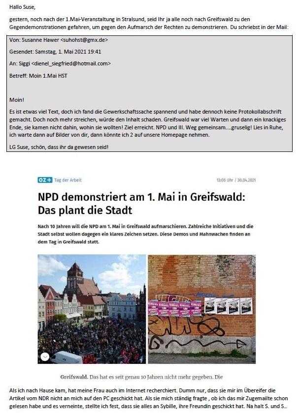 1. Mai - E-Mail an Suse Hawer zum 1.Mai 2021 - Aus dem Posteingang von Siegfried Dienel vom 02.05.2021 - Abschnitt 1