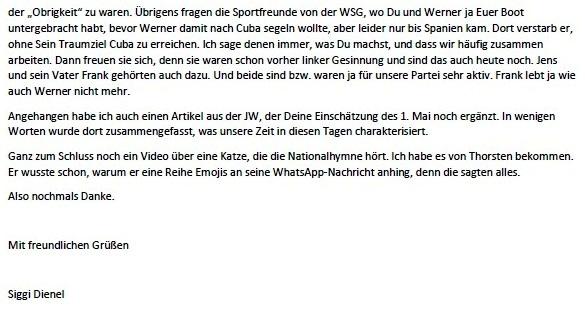 1. Mai - E-Mail an Suse Hawer zum 1.Mai 2021 - Aus dem Posteingang von Siegfried Dienel vom 02.05.2021 - Abschnitt 5