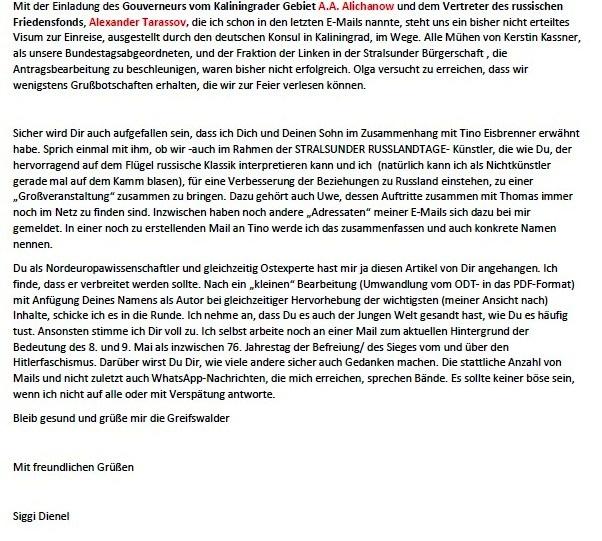 Antwort auf Anfrage zum 8. Mai 2021 in Stralsund - Aus dem Posteingang von Siegfried Dienel vom 04.05.2021 - Abschnitt 3