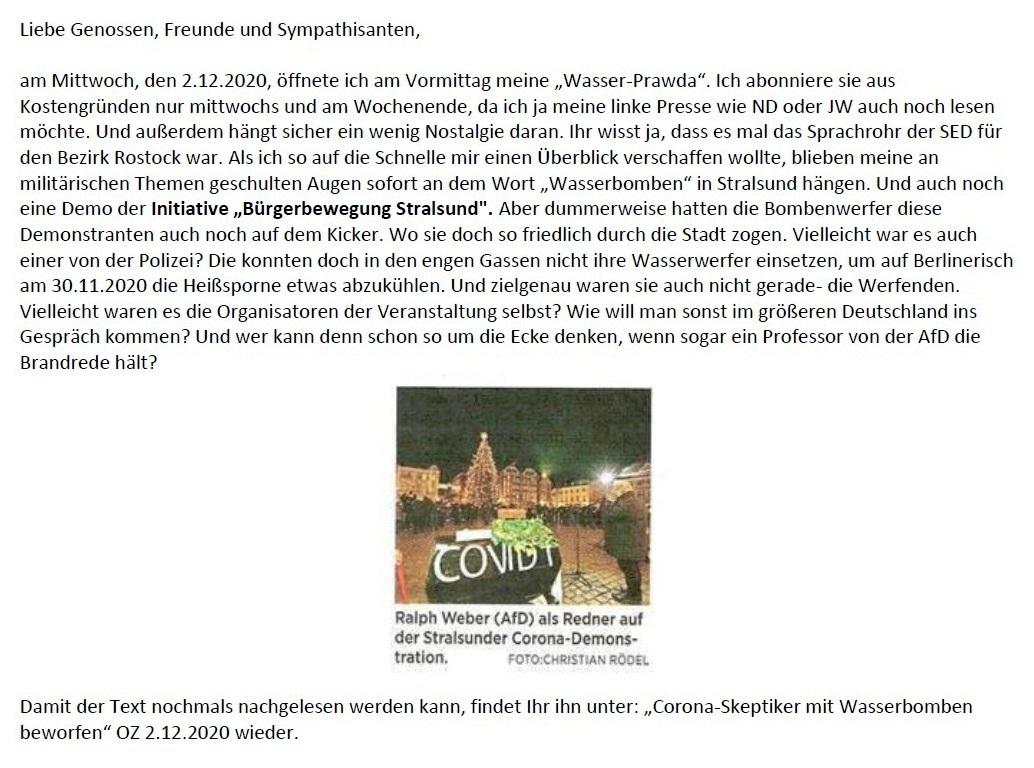 Aus dem Posteingang - Email von Siegfried Dienel vom 04.12.2020 - Corona und die kleine Politik - Abschnitt 1