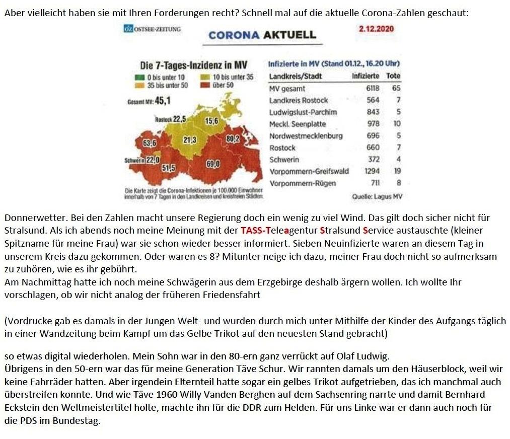 Aus dem Posteingang - Email von Siegfried Dienel vom 04.12.2020 - Corona und die kleine Politik - Abschnitt 2