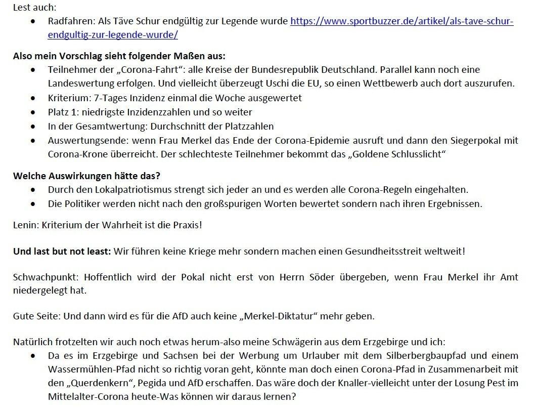 Aus dem Posteingang - Email von Siegfried Dienel vom 04.12.2020 - Corona und die kleine Politik - Abschnitt 3
