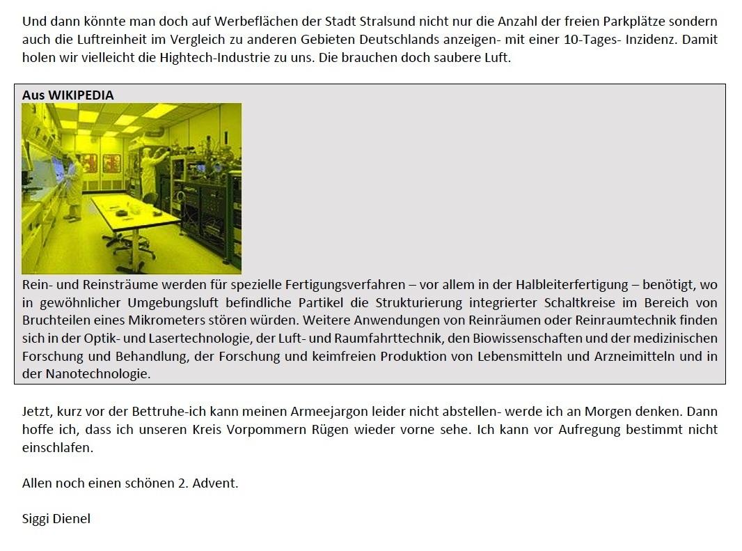 Aus dem Posteingang - Email von Siegfried Dienel vom 04.12.2020 - Corona und die kleine Politik - Abschnitt 9