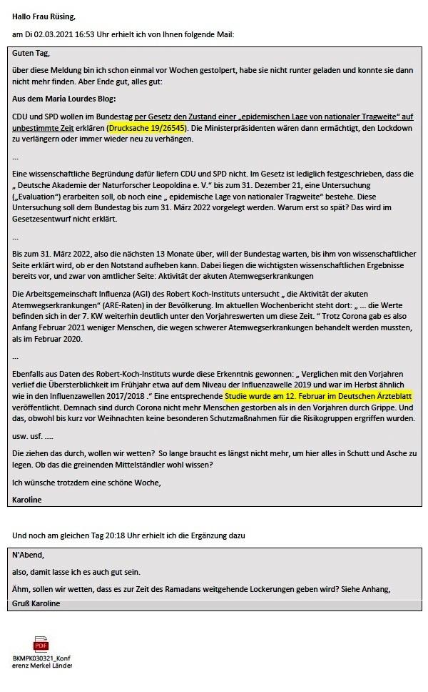 Politik und Corona - E-Mail an Frau Rüsing - Aus dem Posteingang von Siegfried Dienel vom 08.03.2021 - Abschnitt 1