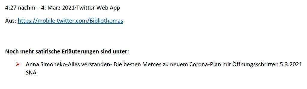 Politik und Corona - E-Mail an Frau Rüsing - Aus dem Posteingang von Siegfried Dienel vom 08.03.2021 - Abschnitt 3 - Link