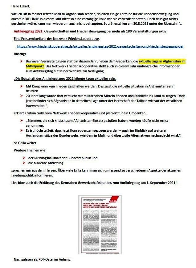 DIE LINKE und die Friedenspolitik - Aus dem Posteingang von Siegfried Dienel vom 09.09.2021 - Abschnitt 1