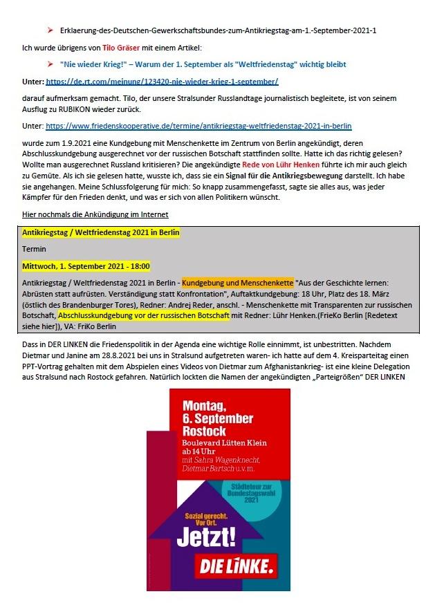 DIE LINKE und die Friedenspolitik - Aus dem Posteingang von Siegfried Dienel vom 09.09.2021 - Abschnitt 2