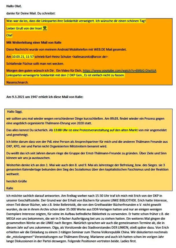 Zur Kritik an der LINKEN - Mail an Olaf vom 11.03.2021 - Aus dem Posteingang von Siegfried Dienel vom 11.03.2021 - Abschnitt 1