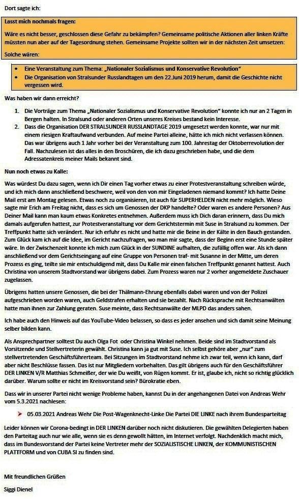 Zur Kritik an der LINKEN - Mail an Olaf vom 11.03.2021 - Aus dem Posteingang von Siegfried Dienel vom 11.03.2021 - Abschnitt 3