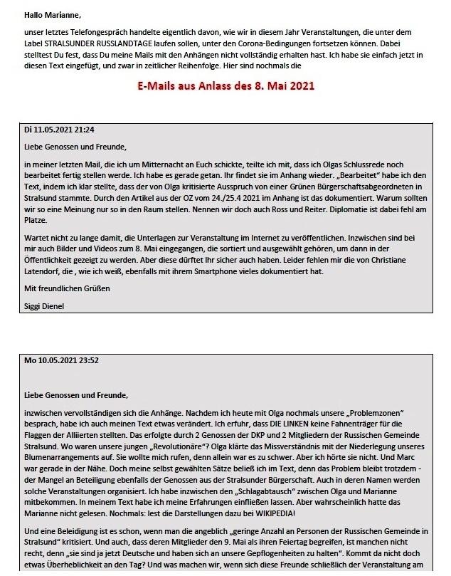 8. Mai und Corona - Aus dem Posteingang von Siegfried Dienel vom 17.05.2021 - Feierliche Kranzniederlegung am 8. 5. 2021 am Sowjetischen Ehrenmal in Stralsund - Abschnitt 1
