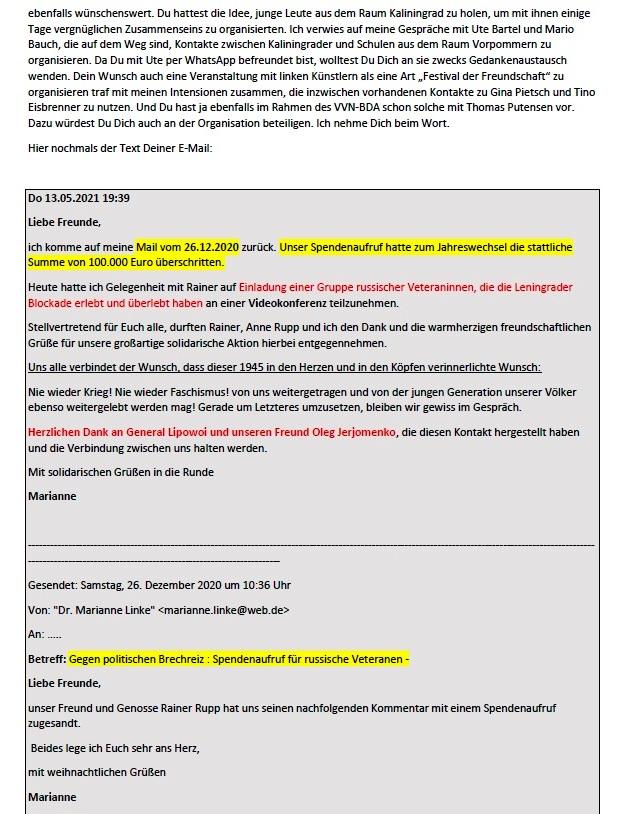 8. Mai und Corona - Aus dem Posteingang von Siegfried Dienel vom 17.05.2021 - Feierliche Kranzniederlegung am 8. 5. 2021 am Sowjetischen Ehrenmal in Stralsund - Abschnitt 3
