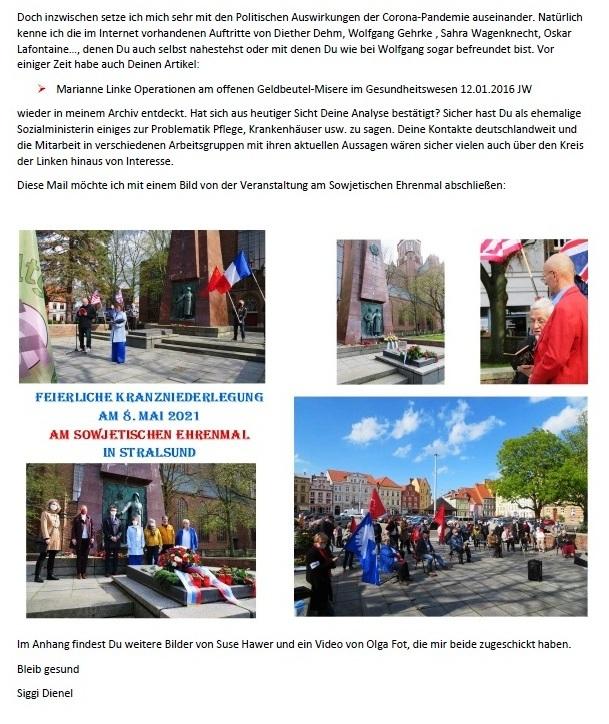 8. Mai und Corona - Aus dem Posteingang von Siegfried Dienel vom 17.05.2021 - Feierliche Kranzniederlegung am 8. 5. 2021 am Sowjetischen Ehrenmal in Stralsund - Abschnitt 6