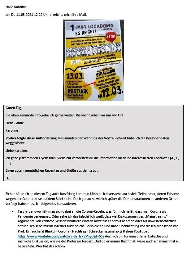 Corona und Politik - Teil 2 - E-Mail an Karoline Rüsing vom 17.03.2021 - Aus dem Posteingang von Siegfried Dienel vom 18.03.2021 - Abschnitt 1