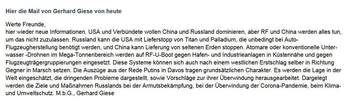 WG: Meinungen und aktuelle Informationen - Aus dem Posteingang von Siegfried Dienel vom 19.02.2021 - Abschnitt 3 von 3 Abschnitten