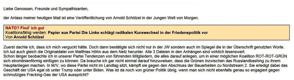 Aus dem Posteingang - Email von Siegfried Dienel vom 20.01.2021 - Debatte zu Linke Sicherheitspolitik von Matthias Höhn - Abschnitt 1