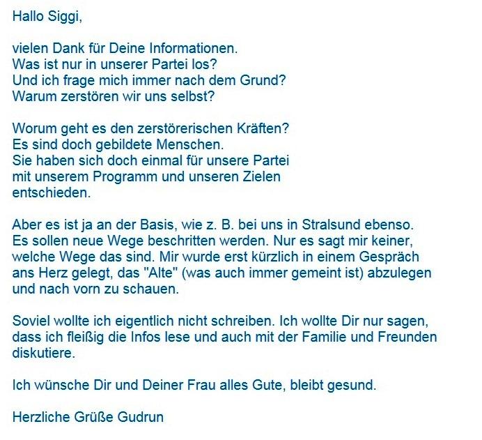 Aus dem Posteingang von Siegfried Dienel vom 24.01.2021 - Antwort-E-Mail zu Ralf Krämers Zuschrift zum Vorschlag von Matthias Höhn