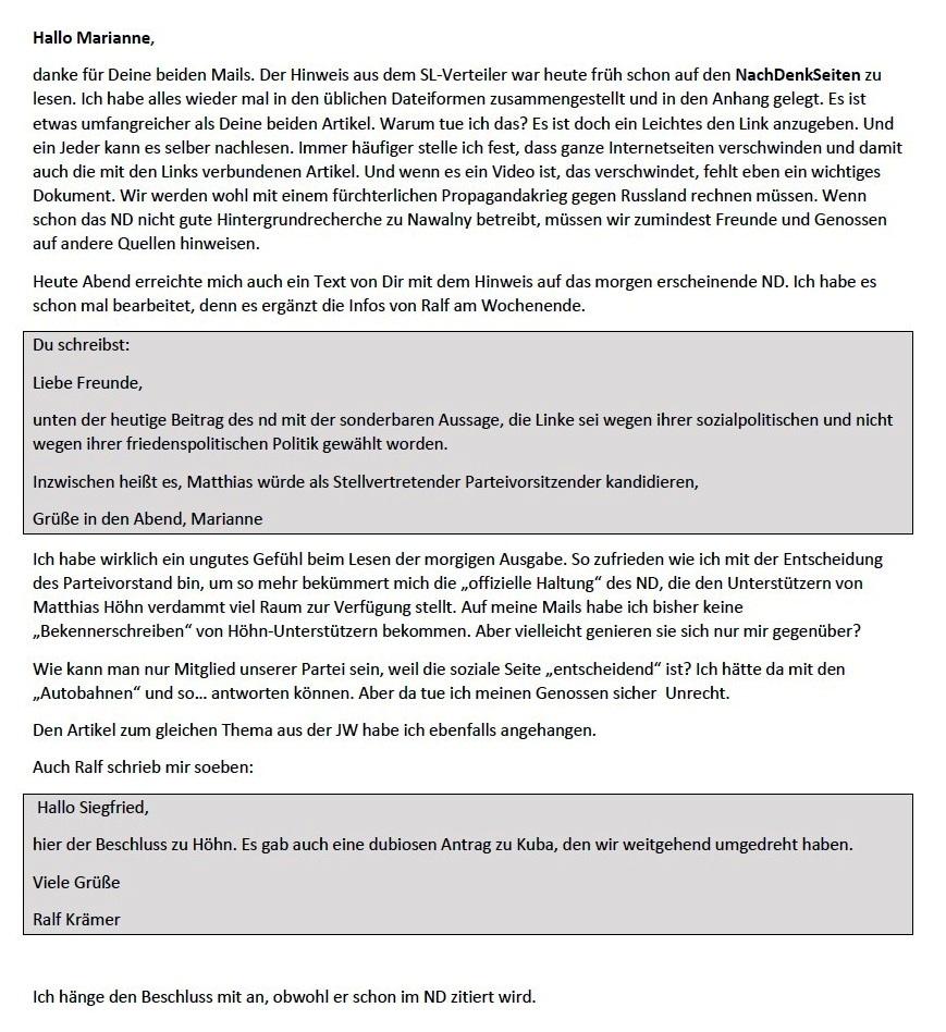 Antwort-E-Mail an Marianne und Ralf - Aus dem Posteingang von Siegfried Dienel vom 25.01.2021 - PDF