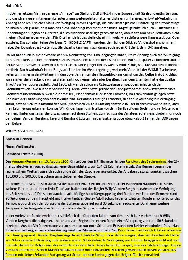 Küstenwald, Täves Geburtstag und Verleumdung von Sigmund Jähn - Mail an Olaf - Aus dem Posteingang von Siegfried Dienel vom 25.02.2021 - Abschnitt 1