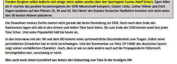 Küstenwald, Täves Geburtstag und Verleumdung von Sigmund Jähn - Mail an Olaf - Aus dem Posteingang von Siegfried Dienel vom 25.02.2021 - Abschnitt 2