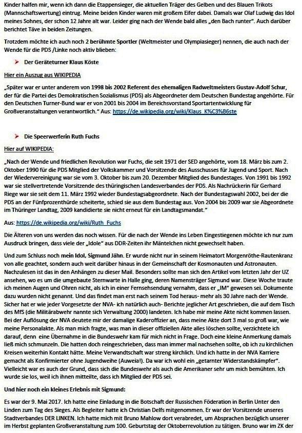 Küstenwald, Täves Geburtstag und Verleumdung von Sigmund Jähn - Mail an Olaf - Aus dem Posteingang von Siegfried Dienel vom 25.02.2021 - Abschnitt 5
