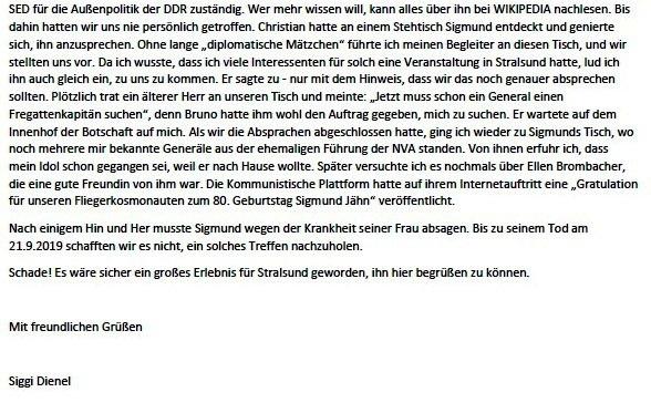 Küstenwald, Täves Geburtstag und Verleumdung von Sigmund Jähn - Mail an Olaf - Aus dem Posteingang von Siegfried Dienel vom 25.02.2021 - Abschnitt 6