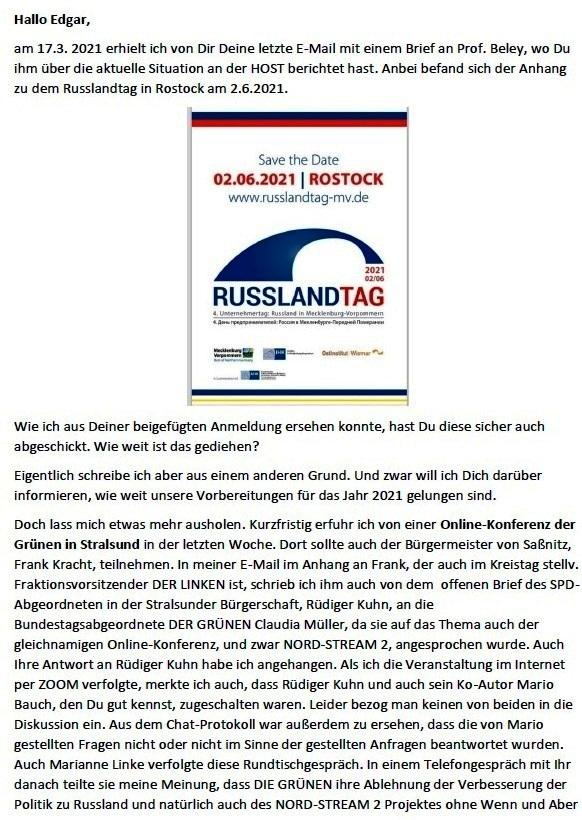 Stand der Vorbereitungen der Arbeit Russlandtage - E-Mail an Professor Edgar Harzfeld am 27.04.2021 - Aus dem Posteingang von Siegfried Dienel vom 27.04.2021 - Abschnitt 1