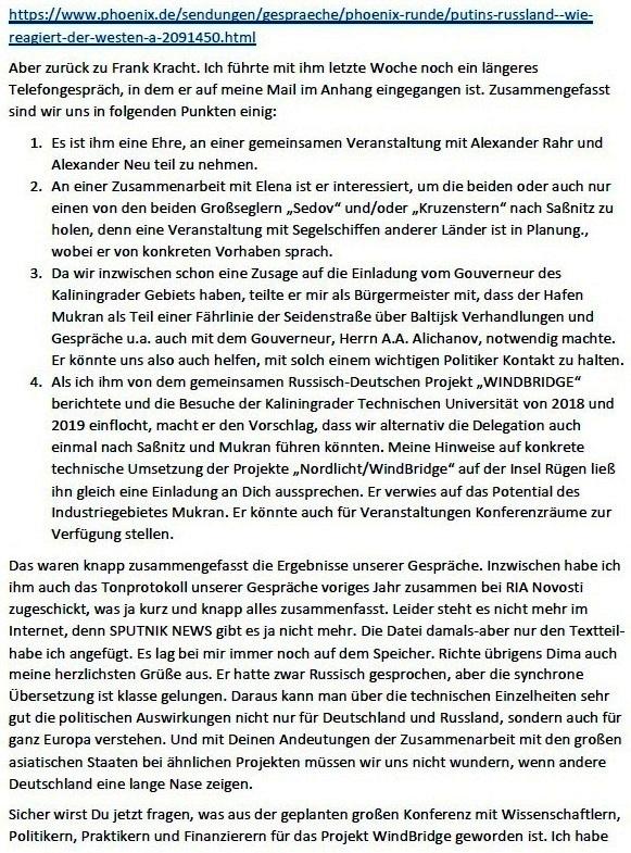 Stand der Vorbereitungen der Arbeit Russlandtage - E-Mail an Professor Edgar Harzfeld am 27.04.2021 - Aus dem Posteingang von Siegfried Dienel vom 27.04.2021 - Abschnitt 4