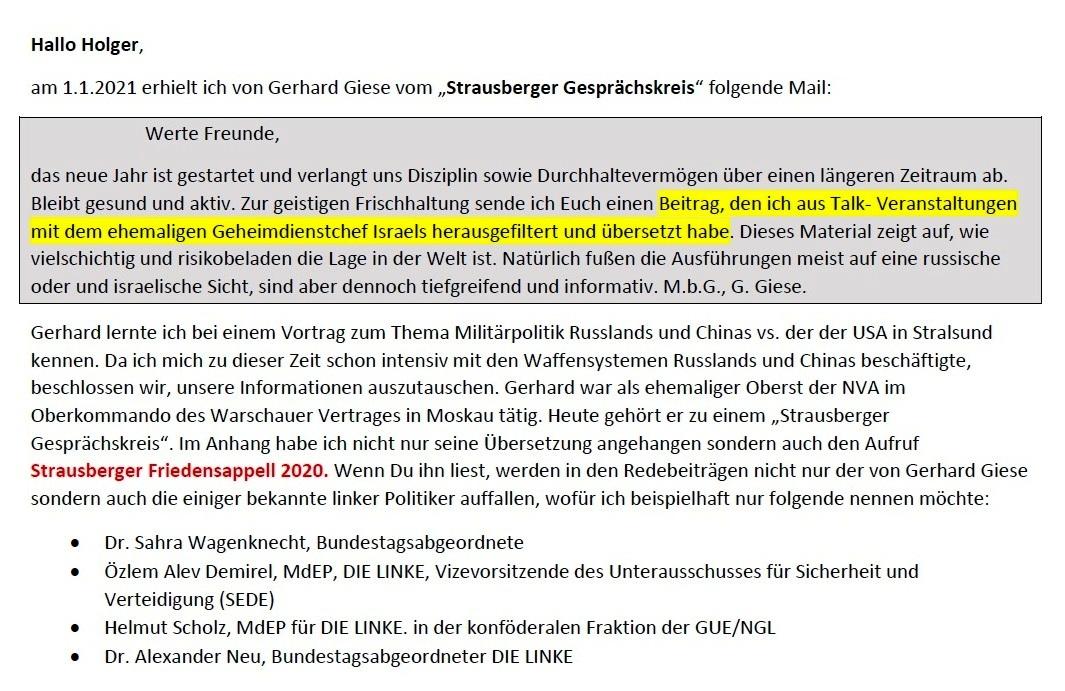 Aus dem Posteingang - Email von Siegfried Dienel vom 04.01.2021 - Brief von Gerhard Giese Strausberger Gesprächskreis weitergeleitet - Abschnitt 1
