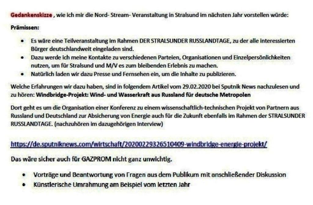 Aus dem Posteingang von Siegfried Dienel - Email von Siegfried Dienel vom 04.11.2020 an Alexander Rahr - Gedankenskizze zur Nord-Stream-Veranstaltung während der STRALSUNDER RUSSLANDTAGE 2021